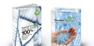 rPET folding carton, 100% PCR content, Post-consumer Recycled, Klearfold RPET, Klearfold