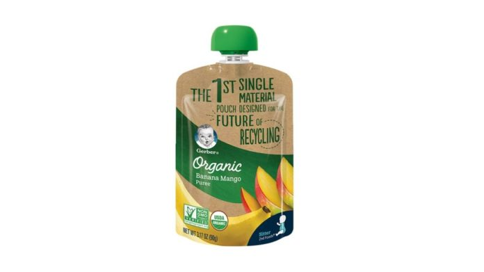 single material layered baby food pouch, single material layered, baby food pouch, go beyond packaging, pouch designed a single-material