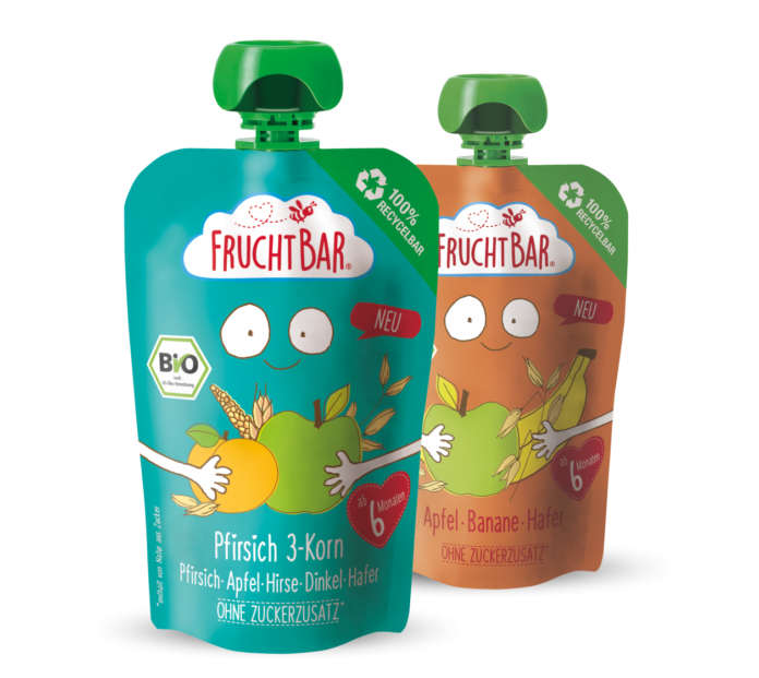 first pre-made spouted pouch, high oxygen and water vapor barriers, first pre-made spouted, high barrier recyclable mono-material, sensitive to recyclability